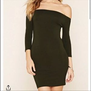 Off the shoulder olive dress